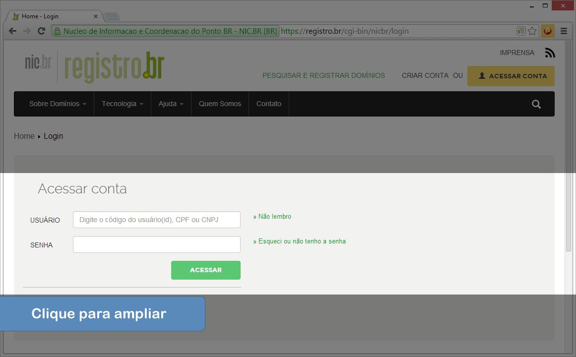 Alterar DNS no Registro.br - Passo 2