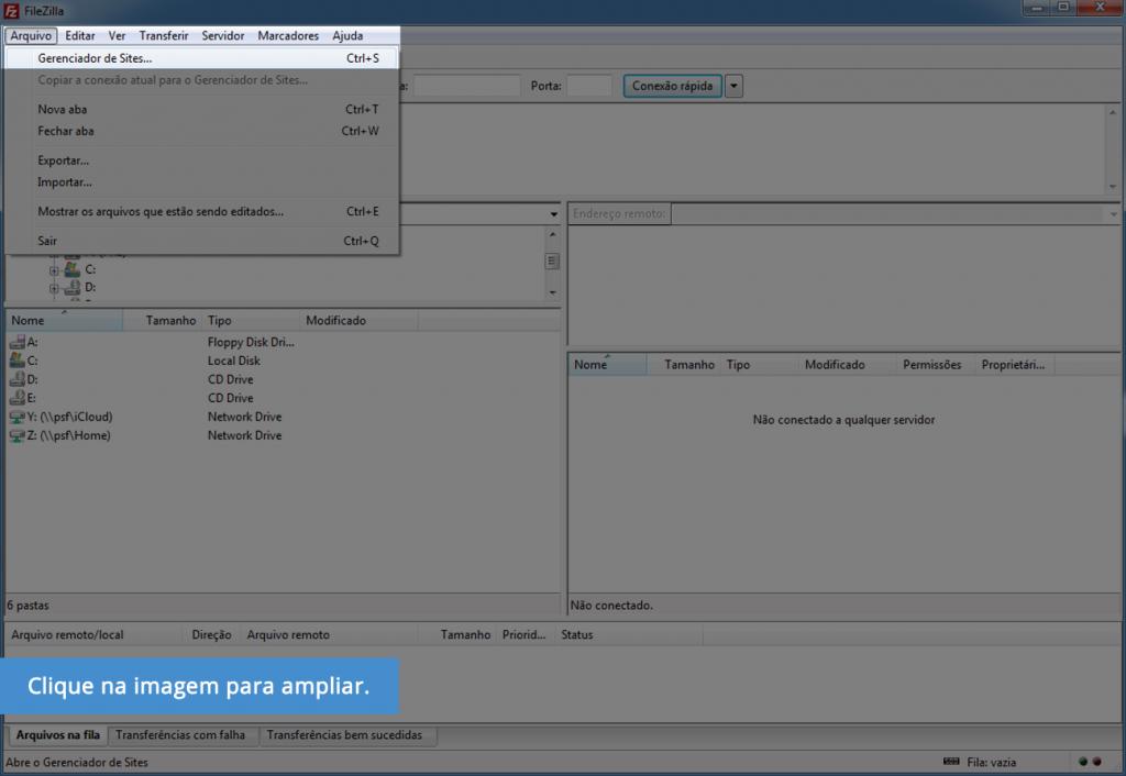 Acesso FTP FileZilla